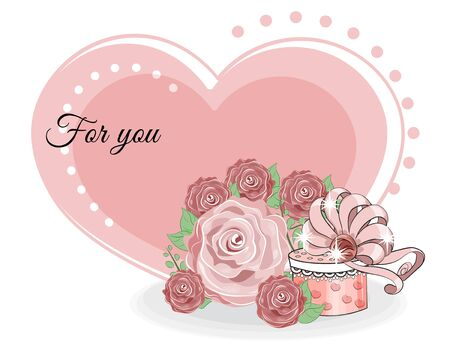 valentine heart for you and gifts in roses.  Picture in hand drawing cartoon style, for t-shirt wear fashion print design, valentine greeting card, postcard. party invitation.