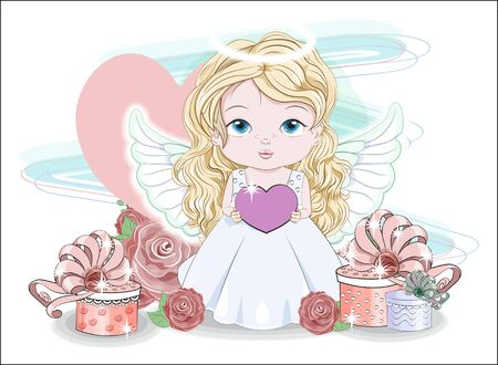 valentine cute baby angel girl, with heart and gifts in roses.  Picture in hand drawing cartoon style, for t-shirt wear fashion print design, valentine greeting card, postcard. party invitation.