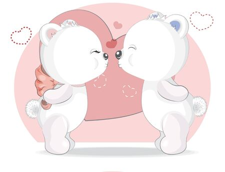 Kiss White Girl and boy Teddy Bear in Hearts, adorable cute love symbol. Picture in hand drawing cartoon style, for t-shirt wear fashion print design, greeting. Valentines Day card, party invitation.