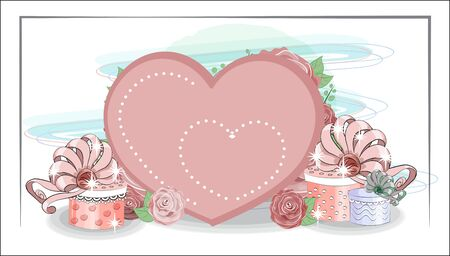valentine cute background heart and gifts in roses. The picture in hand drawing style, can be used for t-shirt print, wear fashion design, greeting valentine card. Ilustração