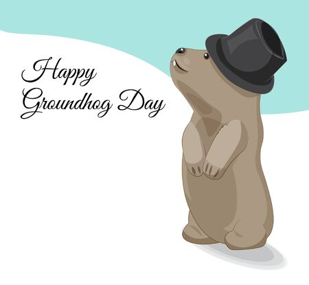 American Groundhog day surk in hat and with shadow looks into sky, standing on snow. Picture in hand drawing cartoon style, for greeting card, party invitation