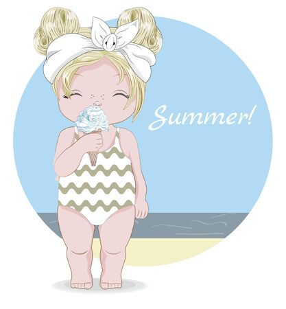 Hello summer baby girl in Swimsuit and ice cream. Picture in hand drawing cartoon style, for greeting card, postcard. baby shower. party invitation.