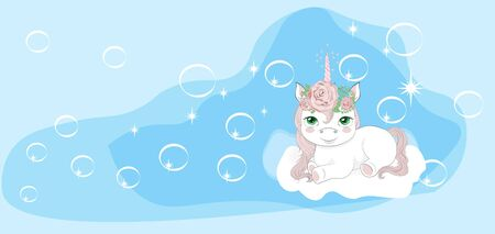 princess unicorn on cloud in sky with bubbles. Picture in hand drawing cartoon style, for t-shirt wear fashion print design, greeting card, postcard. baby shower. party invitation.