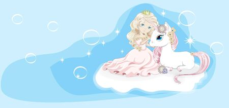 princess and unicorn on cloud in sky with bubbles. Picture in hand drawing cartoon style, for t-shirt wear fashion print design, greeting card, postcard. baby shower. party invitation.