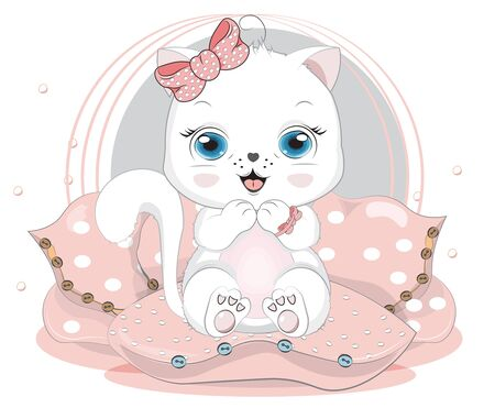 isolated little whire cat. kitten in pillow . Picture in hand drawing cartoon style, for t-shirt wear print, fashion design, baby shower. greeting card, party invitation