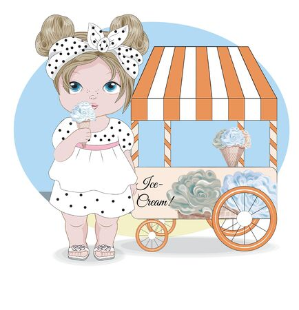 Hello summer baby girl in dress with elephant and ice cream Stand. Picture in hand drawing cartoon style, for greeting card, postcard. baby shower. party invitation.