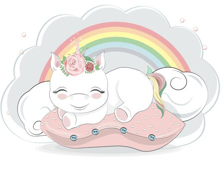 adorable sleepping little unicorn with rainbow tail on pillows. Picture in hand drawing cartoon style, for t-shirt wear print, fashion design, baby shower. greeting card, party invitation