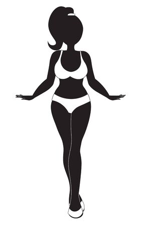 silhouette of the beautiful slender girl in swimsuit. Thin, sports body.