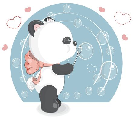 Panda with bubbles. Picture in hand drawing cartoon style, for t-shirt wear fashion print design, greeting. card, party invitation.  向量圖像