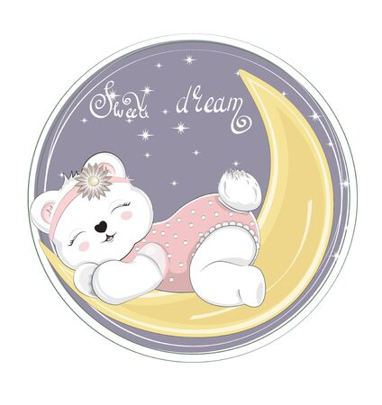 sleepping baby Teddy bear girl, on moon. Picture in hand drawing cartoon style, for t-shirt wear print, fashion design, greeting card, party invitation 向量圖像