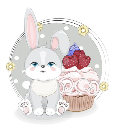 Cute grey baby rabbit, honey bunny sitting and cupcake strawberry. Picture in hand drawing style, for t-shirt wear fashion print design, greeting card, postcard. baby shower. party invitation.