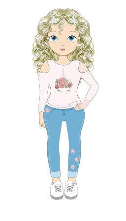 Blonde girl in long sleeve top with unicorn print and skini jeans. Picture in hand drawing cartoon style