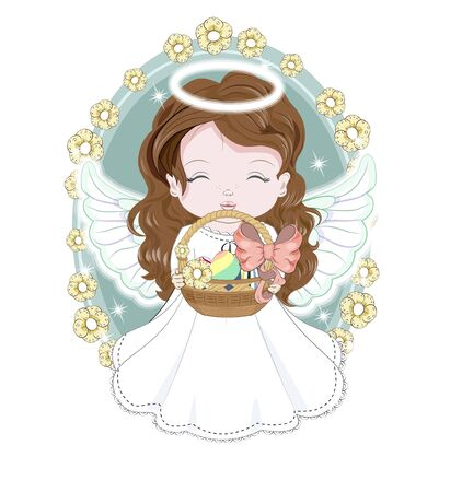 beautiful, charming, Easter baby angel, in white dress with basket of eggs. Picture in hand drawing cartoon cute style, for Holiday Greeting card. postcard. party invitation.