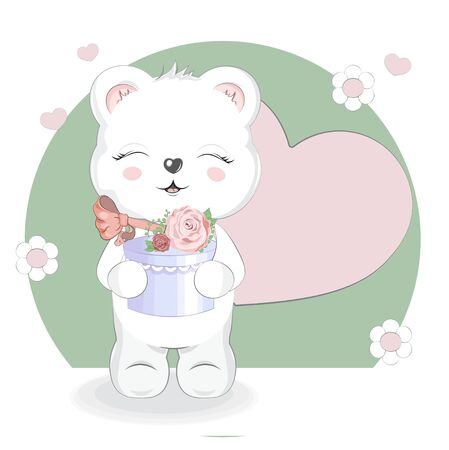 White Girl Teddy Bear with gift, adorable cute love symbol. Picture in hand drawing cartoon style, for t-shirt wear fashion print design, greeting. Happy birthday card, party invitation.  Illusztráció
