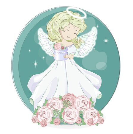 Angel in night flower rose garden. Picture in hand drawing cartoon style, for t-shirt wear fashion print design, greeting card, postcard. baby shower. party invitation.