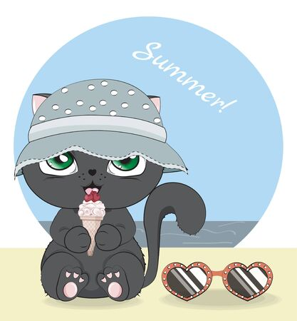Hello summer baby black cat in cap, strawberry ice cream and sunglasses on beach. Picture in hand drawing cartoon style, for greeting card, postcard. baby shower. party invitation.