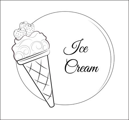 Ice cream logo with strawberry black and white. Picture in hand drawing cartoon style, for t-shirt wear fashion print design, promotion. party invitation.