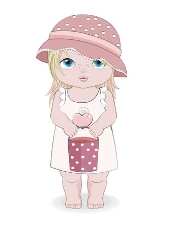 Hello summer baby girl in summer dress, hat and bucket,. Picture in hand drawing cartoon style, for greeting card, postcard. baby shower. party invitation.