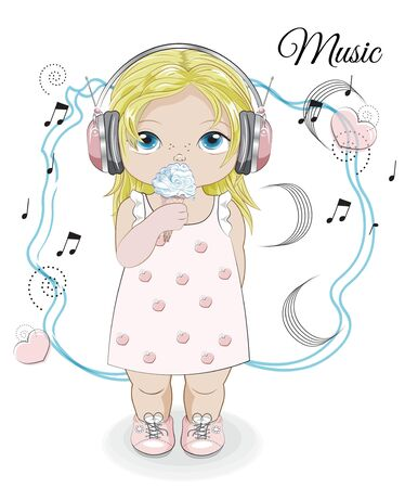 baby girl in earphones, headphones with ice cream and notes. Picture in hand drawing style for baby shower. Greeting card, party invitation, fashion clothes t-shirt print