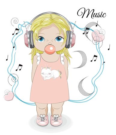 baby girl in earphones, headphones with bubblle gum, unicorn print and notes. Picture in hand drawing style for baby shower. Greeting card, party invitation, fashion clothes t-shirt print
