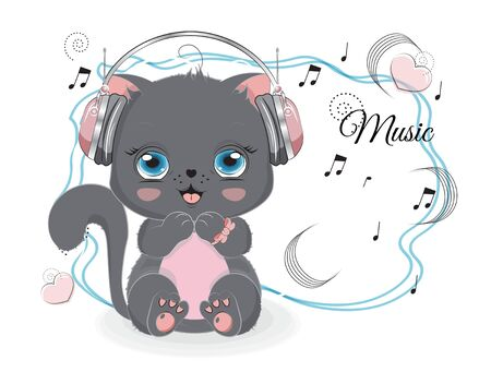 lovely drawn baby black cat, kitten in earphones and notes. Picture in hand drawing style for baby shower. Greeting card, party invitation, fashion clothes t-shirt print 矢量图像