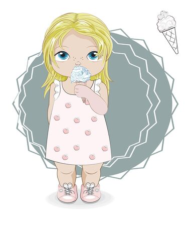 Hello summer baby blonde girl in summer dress with ice cream. Picture in hand drawing cartoon style, for greeting card, postcard. baby shower. party invitation.																		