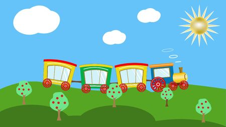 train on hills wiht apple tree, under day sky with clouds and sun. Picture in hand drawing cartoon style.