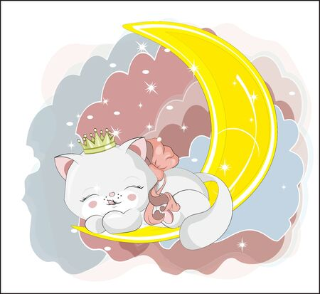 princess cute white honey cat in crpwn, kitten, sleep and smile. Picture in hand drawing cartoon style, for t-shirt wear fashion print design, greeting card, postcard. baby shower. party invitation.  イラスト・ベクター素材