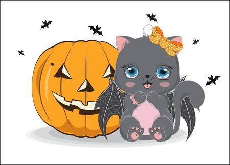 black Halloween baby cat girl, with bow and bat wings, near pumpkin. Picture in hand drawing cartoon style, for t-shirt wear fashion print design, greeting card, postcard. baby shower. party invitation.  イラスト・ベクター素材