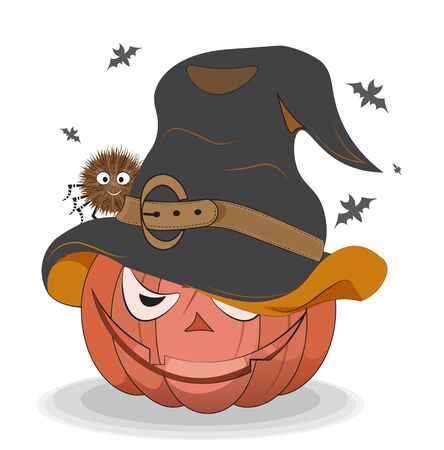 Halloween pumpkin in witch hat and spider on bats background. Picture in hand drawing style, for t-shirt wear fashion print design, greeting card, postcard. party invitation