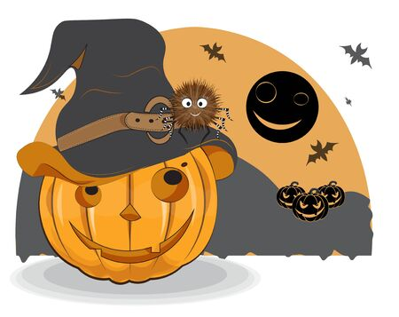 Halloween pumpkin in witch hat and spider on night monn bats background. Picture in hand drawing style, for t-shirt wear fashion print design, greeting card, postcard. party invitation