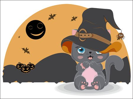 black Halloween baby cat girl in witch hat and spider , near pumpkin. Picture in hand drawing style, for t-shirt wear fashion print design, greeting card, postcard. party invitation