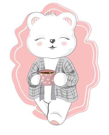 baby teddy bear with cup of hot tea, chocolate or coffee. Picture in hand drawing cartoon style, for t-shirt wear fashion print design, greeting card, postcard. baby shower. party invitation