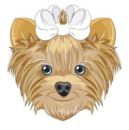 Lovely vector puppy, dog with a bow. Picture in hand drawing cartoon style, for t-shirt wear fashion print design, greeting card, postcard. party invitation.  イラスト・ベクター素材