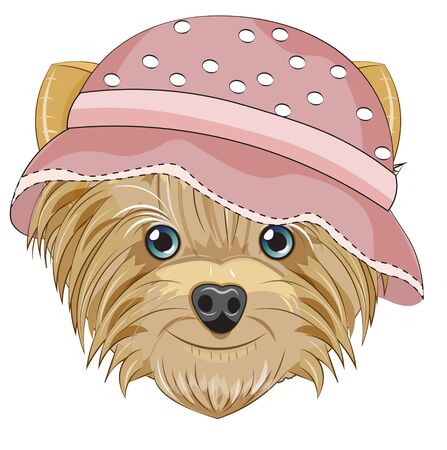 Lovely vector puppy, dog in hat. Picture in hand drawing cartoon style, for t-shirt wear fashion print design, greeting card, postcard. party invitation.  イラスト・ベクター素材