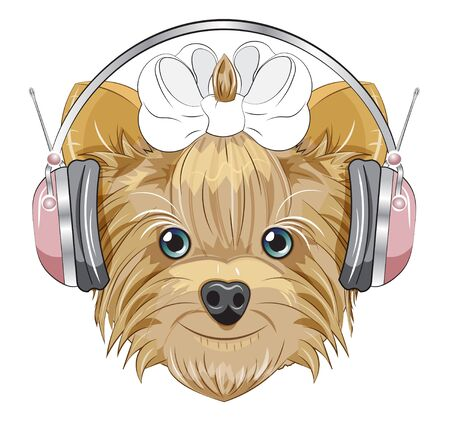 Lovely vector puppy, dog with a bow in headphones. Picture in hand drawing cartoon style, for t-shirt wear fashion print design, greeting card, postcard. party invitation.