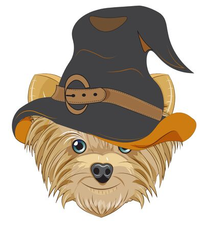 Lovely vector puppy, dog in Halloween hat. Picture in hand drawing cartoon style, for t-shirt wear fashion print design, holidaygreeting card, postcard. party invitation.  イラスト・ベクター素材