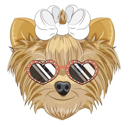 Lovely vector puppy, dog with a bow, in heart sunglasses. Picture in hand drawing cartoon style, for t-shirt wear fashion print design, greeting card, postcard. party invitation.