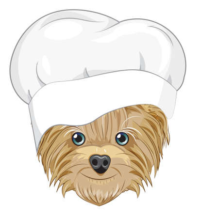 Lovely vector puppy, dog in cook cap. Picture in hand drawing cartoon style, for t-shirt wear fashion print design, greeting card, postcard. party invitation.