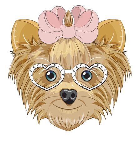 Lovely vector puppy, dog with a bow, in heart glasses. Picture in hand drawing cartoon style, for t-shirt wear fashion print design, greeting card, postcard. party invitation.