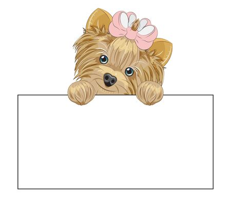 Lovely vector puppy, dog with a bow dog frame. Picture in hand drawing cartoon style, for t-shirt wear fashion print design, greeting card, postcard. party invitation.  イラスト・ベクター素材