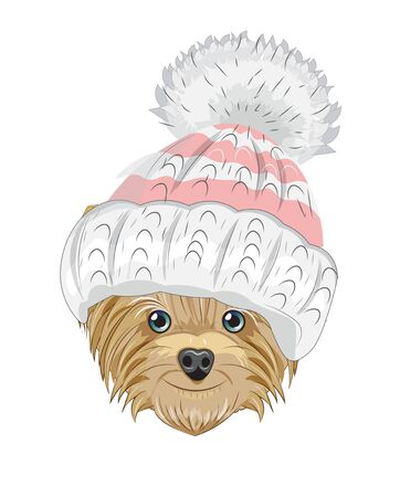 Lovely vector puppy, dog with winter hat. Picture in hand drawing cartoon style, for t-shirt wear fashion print design, greeting card, postcard. party invitation.