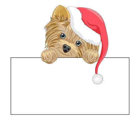 Lovely vector puppy, dog with santa hat. Picture in hand drawing cartoon style, for t-shirt wear fashion print design, merry Christmas, happy new yea greeting card, postcard. party invitation.