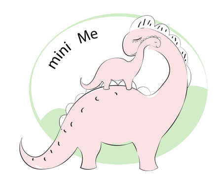 cute pink cartoon dinosaur Diplodocus, mum and baby, mini Me, Picture in hand drawing cartoon style, for t-shirt wear fashion print design, greeting card, postcard. baby shower. party invitation.