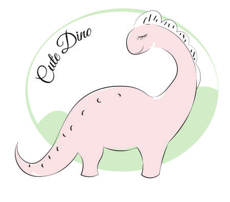 cute pink cartoon dinosaur Diplodocus, Picture in hand drawing cartoon style, for t-shirt wear fashion print design, greeting card, postcard. baby shower. party invitation.