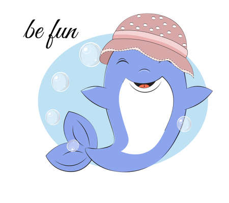dolphin dolphin in hat have fun in bubble background. Picture in hand drawing cartoon style, for t-shirt wear fashion print design, greeting card, postcard. baby shower. party invitatio