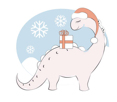 cute pink cartoon dinosaur Diplodocus, in santa hat and gift. Picture in cartoon style, for t-shirt wear fashion print design, merry Christmas, happy new year greeting card, postcard. party invitation.