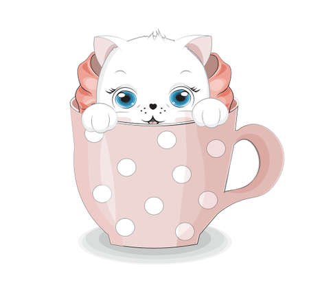 cute white cat, kitten in cup. Picture in hand drawing cartoon style, for t-shirt wear fashion print design, greeting card, postcard. party invitation.