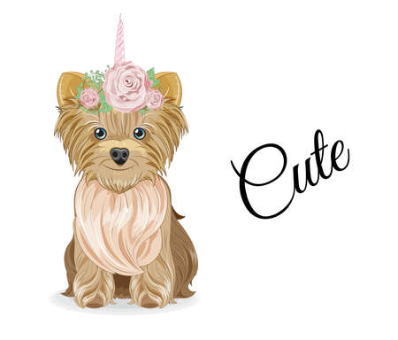Lovely vector puppy, dog with bow and unicorn horn in flower. Picture in hand drawing cartoon style, for t-shirt wear fashion print design, greeting card, postcard. party invitation.