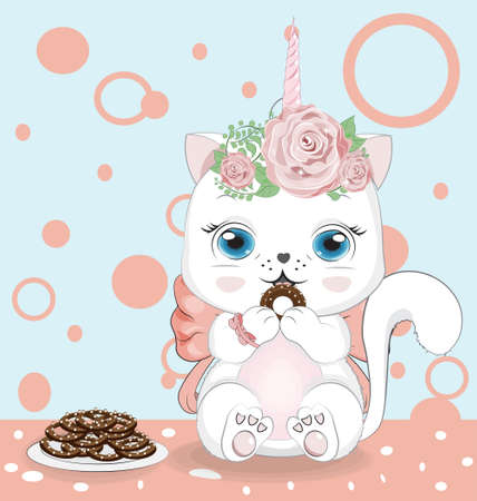 Happy white cat unicorn girl, kitten with bow and chocolate cookies. Picture in hand drawing cartoon style, for t-shirt wear fashion print design, greeting birthday card, postcard. baby shower. party invitation.  イラスト・ベクター素材